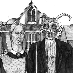 Eric Pedersen - Snuggle Bunny Death Train - after Grant Wood's American Gothic